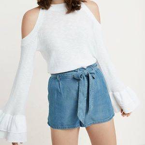 NWT Express Cold Shoulder Sweater with Ruffles